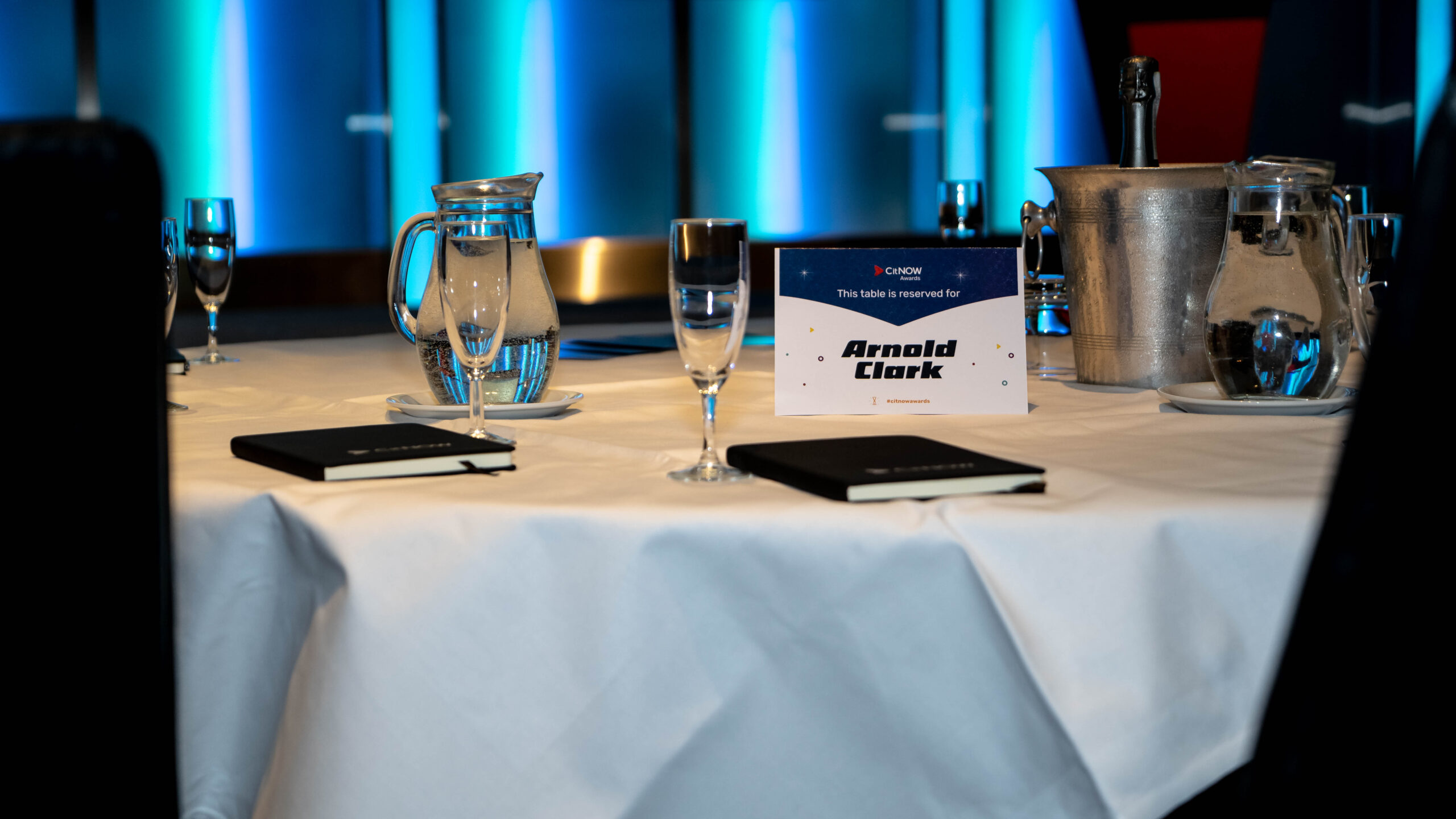 A table reserved for Arnold Clark