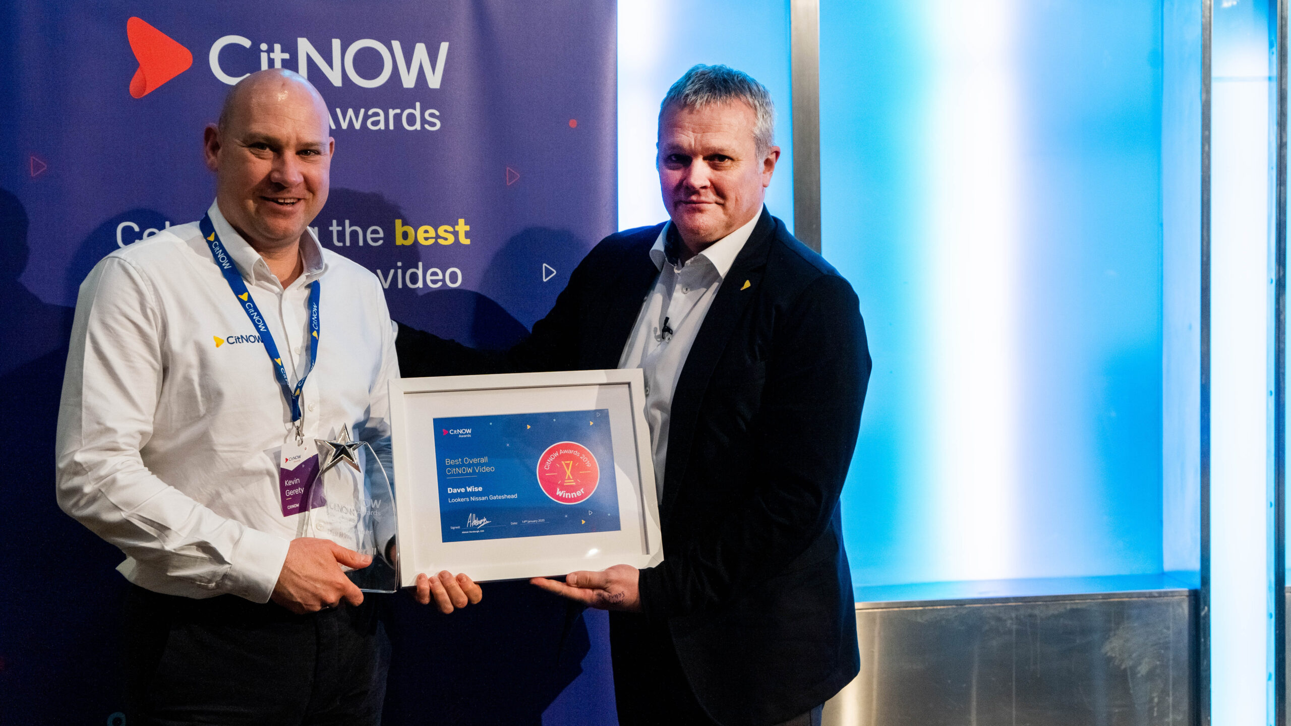 Kevin Collecting the Best overall CitNOW Video Award on behalf of Dave Wise